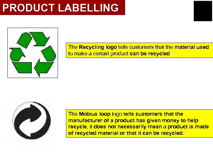 PRODUCT LABELLING The Recycling logo tells customers that the material used to make a