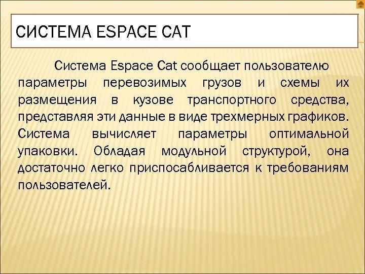 СИСТЕМА ESPACE CAT Система Espace Cat сообщает пользователю параметры перевозимых грузов и схемы их