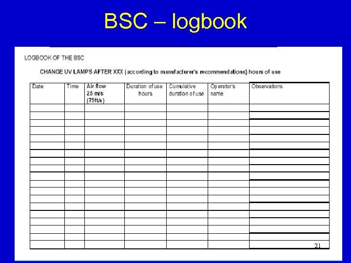 BSC – logbook 21