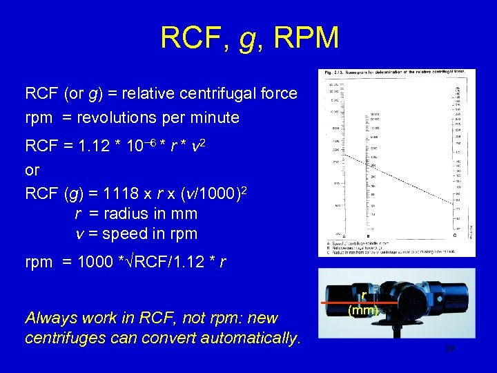 RCF, g, RPM RCF (or g) = relative centrifugal force rpm = revolutions per