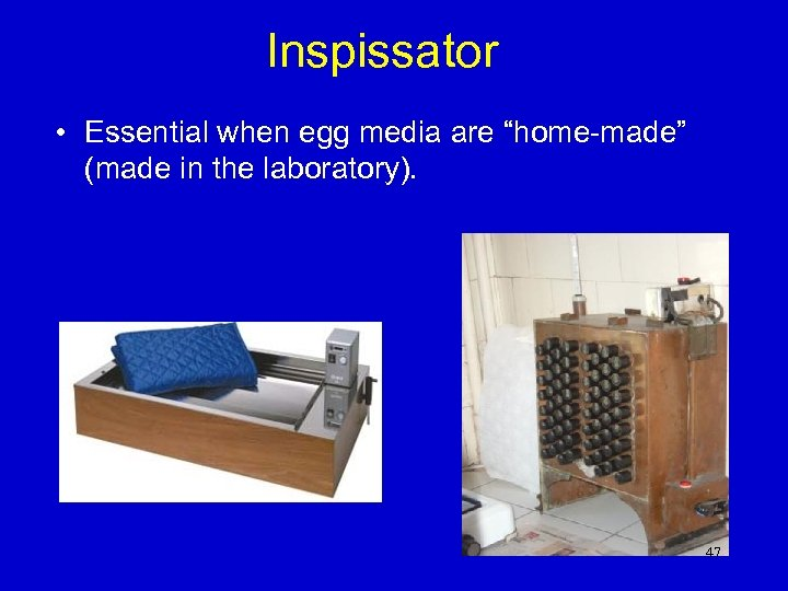 "Inspissator • Essential when egg media are ""home-made"" (made in the laboratory). 47"