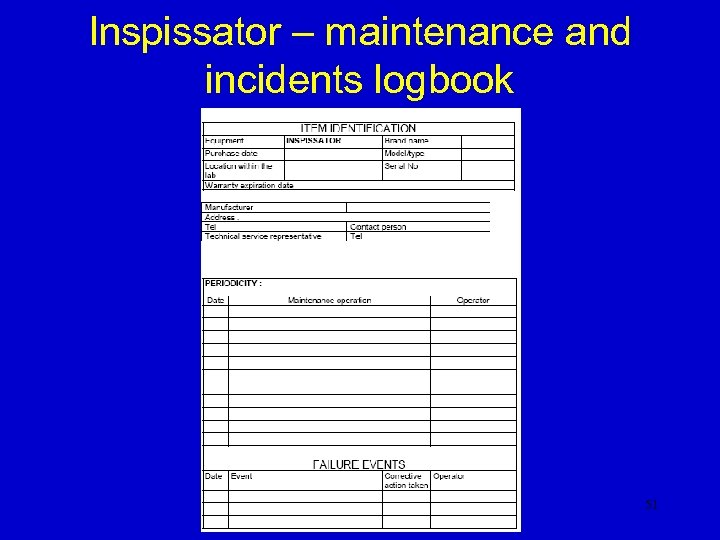 Inspissator – maintenance and incidents logbook 51