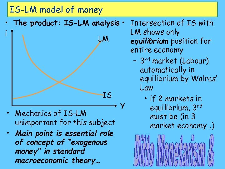 IS-LM model of money • The product: IS-LM analysis • Intersection of IS with
