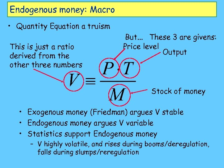 Endogenous money: Macro • Quantity Equation a truism This is just a ratio derived
