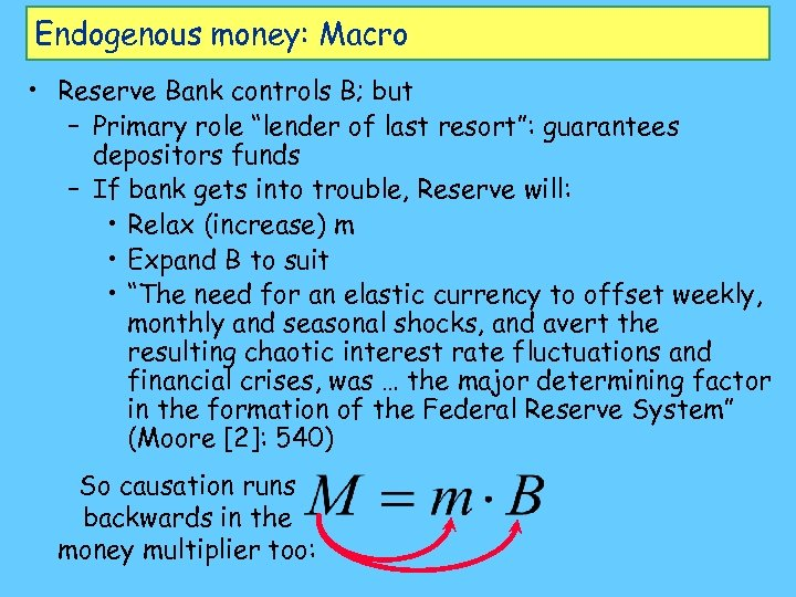 "Endogenous money: Macro • Reserve Bank controls B; but – Primary role ""lender of"