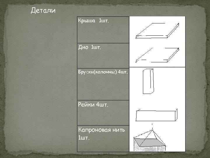 Детали Крыша 1 шт. Дно 1 шт. Бруски(колонны) 4 шт. Рейки 4 шт. Капроновая