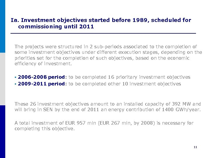 Ia. Investment objectives started before 1989, scheduled for commissioning until 2011 The projects were