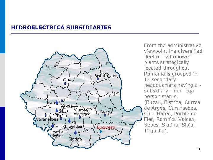HIDROELECTRICA SUBSIDIARIES Cluj Bistrita Hateg Sebes Curtea Sibiu de. Arges Tg Jiu. Caransebes Rm.