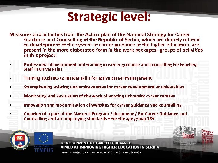 Strategic level: Measures and activities from the Action plan of the National Strategy for