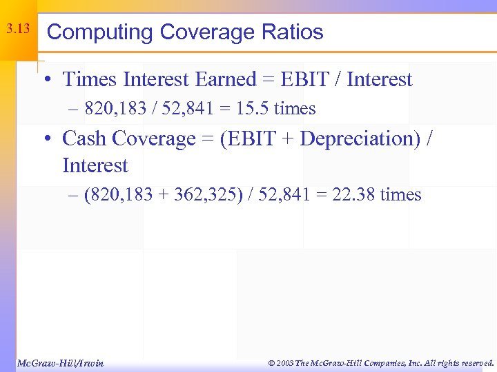 3. 13 Computing Coverage Ratios • Times Interest Earned = EBIT / Interest –
