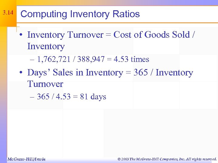 3. 14 Computing Inventory Ratios • Inventory Turnover = Cost of Goods Sold /