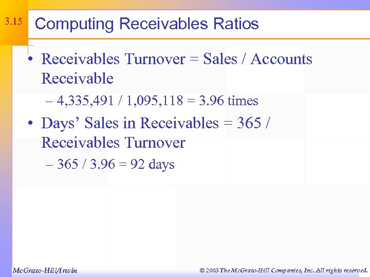 3. 15 Computing Receivables Ratios • Receivables Turnover = Sales / Accounts Receivable –