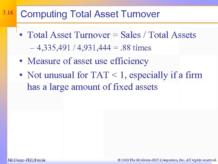 3. 16 Computing Total Asset Turnover • Total Asset Turnover = Sales / Total
