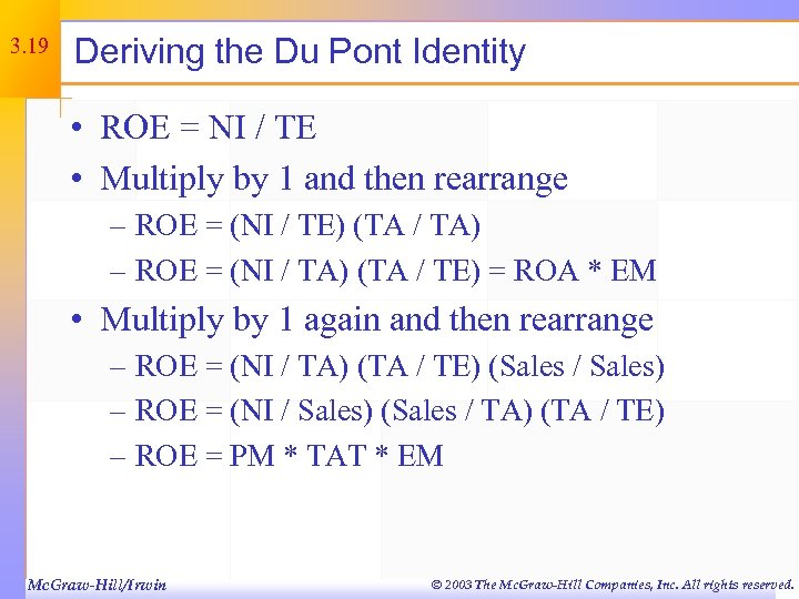 3. 19 Deriving the Du Pont Identity • ROE = NI / TE •