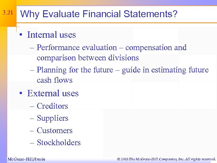 3. 21 Why Evaluate Financial Statements? • Internal uses – Performance evaluation – compensation