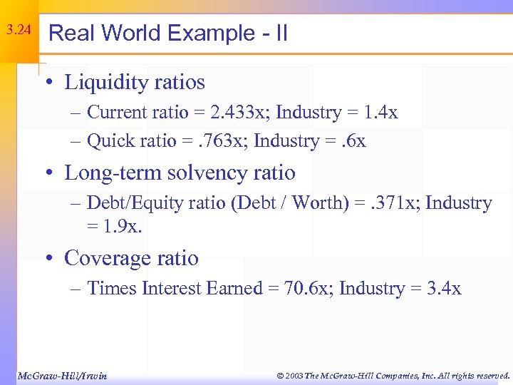 3. 24 Real World Example - II • Liquidity ratios – Current ratio =