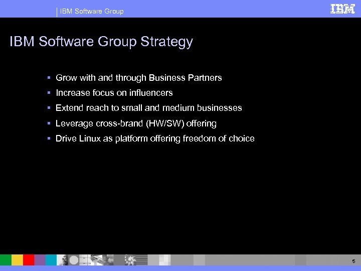IBM Software Group Strategy § Grow with and through Business Partners § Increase focus