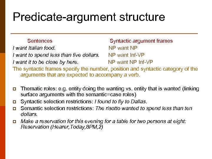 Predicate-argument structure Sentences Syntactic argument frames I want Italian food. NP want NP I