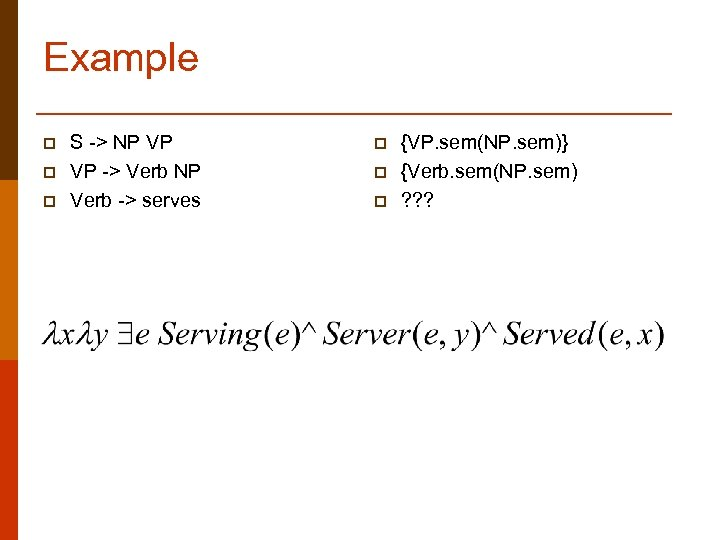 Example p p p S -> NP VP VP -> Verb NP Verb ->