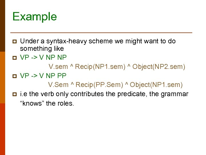 Example p p Under a syntax-heavy scheme we might want to do something like