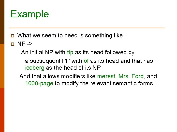 Example p p What we seem to need is something like NP -> An
