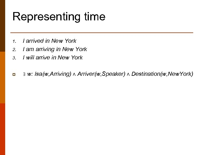 Representing time 3. I arrived in New York I am arriving in New York