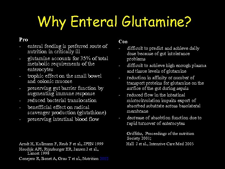 Why Enteral Glutamine? Pro - enteral feeding is preferred route of nutrition in critically