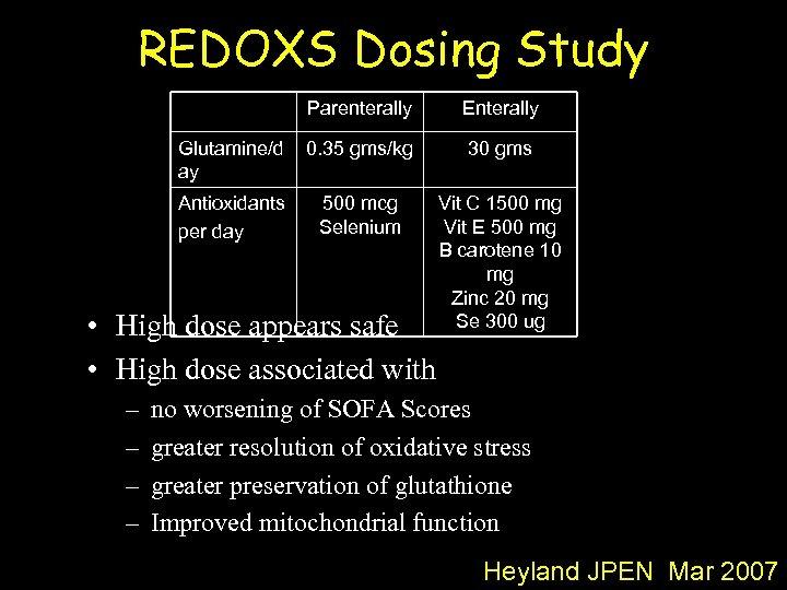 REDOXS Dosing Study Parenterally Enterally Glutamine/d ay 0. 35 gms/kg 30 gms Antioxidants per
