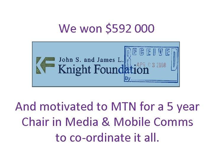 We won $592 000 And motivated to MTN for a 5 year Chair in
