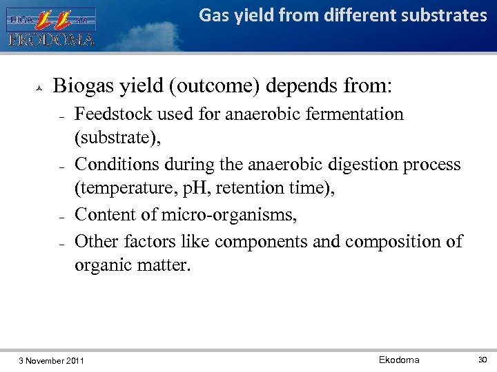 Gas yield from different substrates Biogas yield (outcome) depends from: Feedstock used for anaerobic