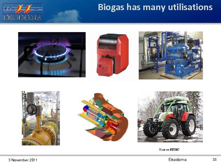 Biogas has many utilisations Source: FITEC 3 November 2011 Ekodoma 35