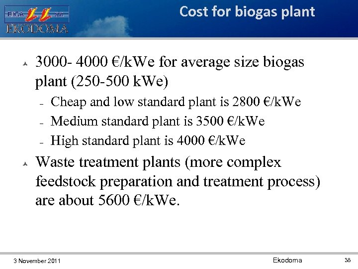 Cost for biogas plant 3000 - 4000 €/k. We for average size biogas plant