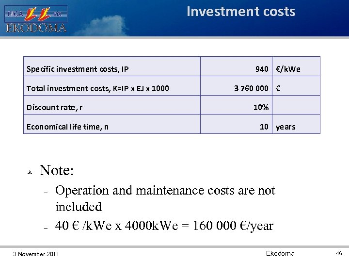 Investment costs Specific investment costs, IP Total investment costs, K=IP x EJ x 1000
