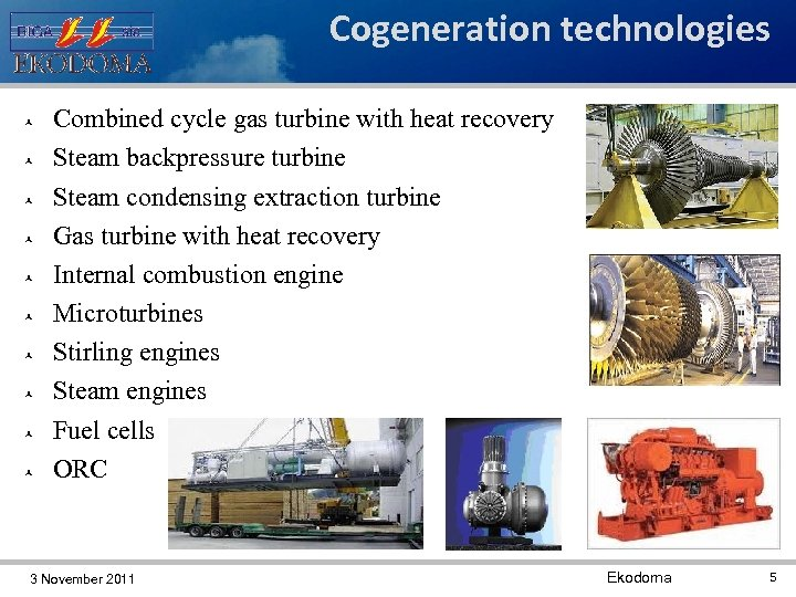 Cogeneration technologies Combined cycle gas turbine with heat recovery Steam backpressure turbine Steam condensing