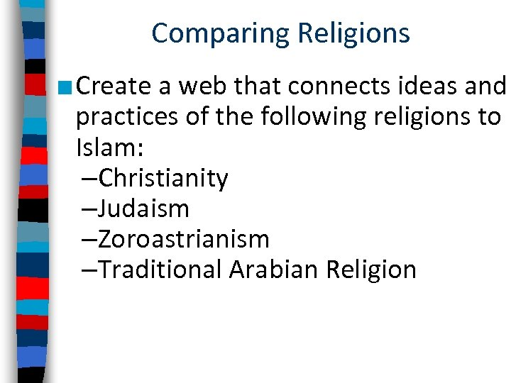 Comparing Religions ■ Create a web that connects ideas and practices of the following