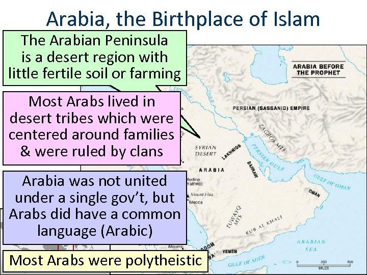 Arabia, the Birthplace of Islam The Arabian Peninsula is a desert region with little