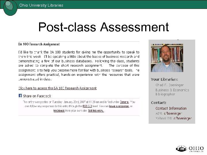 Ohio University Libraries Post-class Assessment