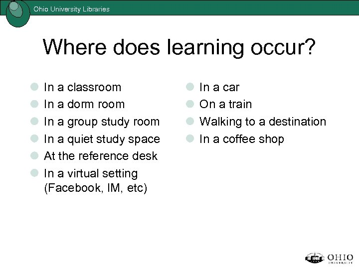 Ohio University Libraries Where does learning occur? In a classroom In a dorm room