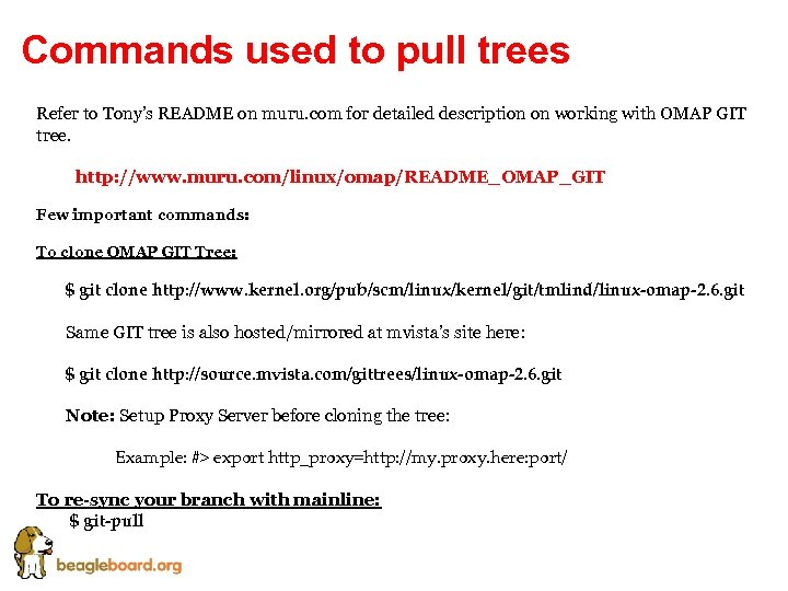 Commands used to pull trees Refer to Tony's README on muru. com for detailed