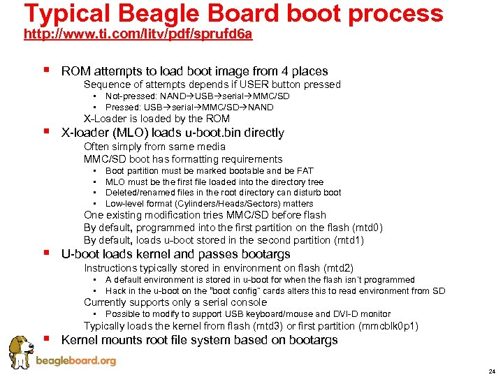 Typical Beagle Board boot process http: //www. ti. com/litv/pdf/sprufd 6 a § § §