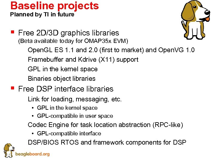 Baseline projects Planned by TI in future § Free 2 D/3 D graphics libraries