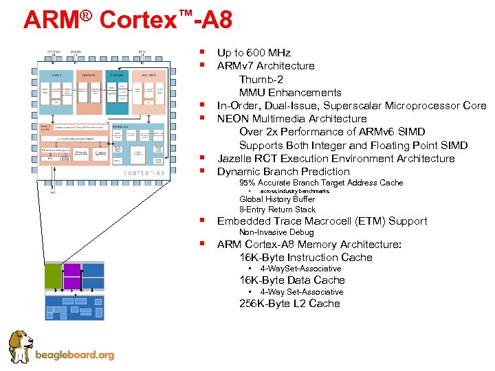 ARM® Cortex™-A 8 § § § Up to 600 MHz ARMv 7 Architecture §