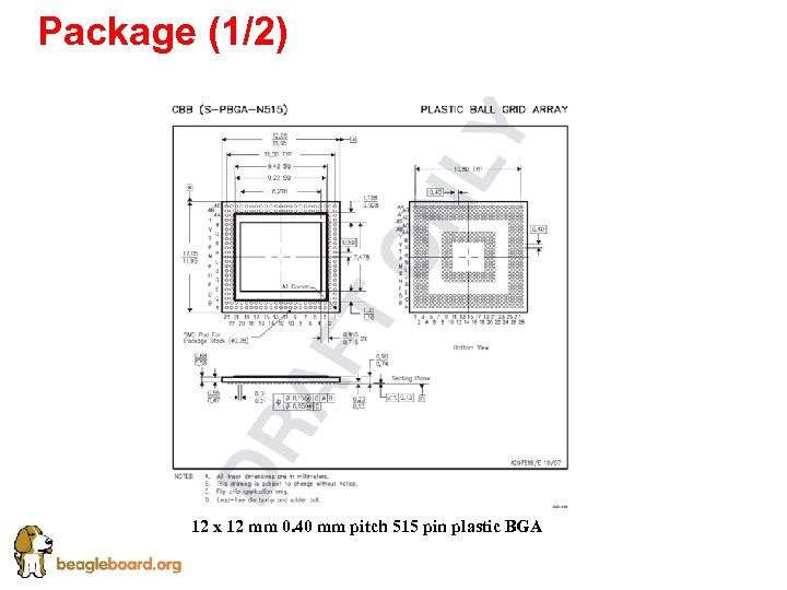 Package (1/2) 12 x 12 mm 0. 40 mm pitch 515 pin plastic BGA