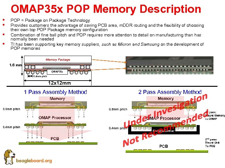 OMAP 35 x POP Memory Description § § POP = Package on Package Technology