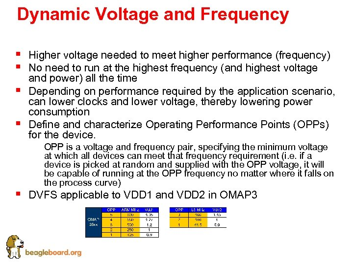 Dynamic Voltage and Frequency § § Higher voltage needed to meet higher performance (frequency)