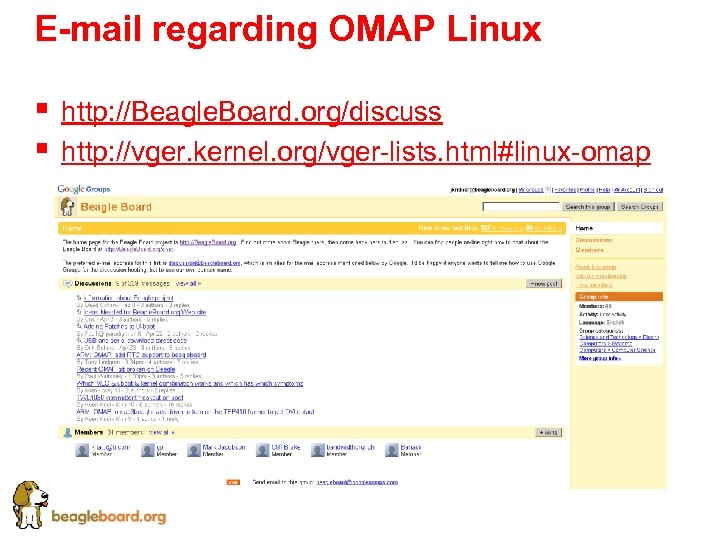 E-mail regarding OMAP Linux § § http: //Beagle. Board. org/discuss http: //vger. kernel. org/vger-lists.