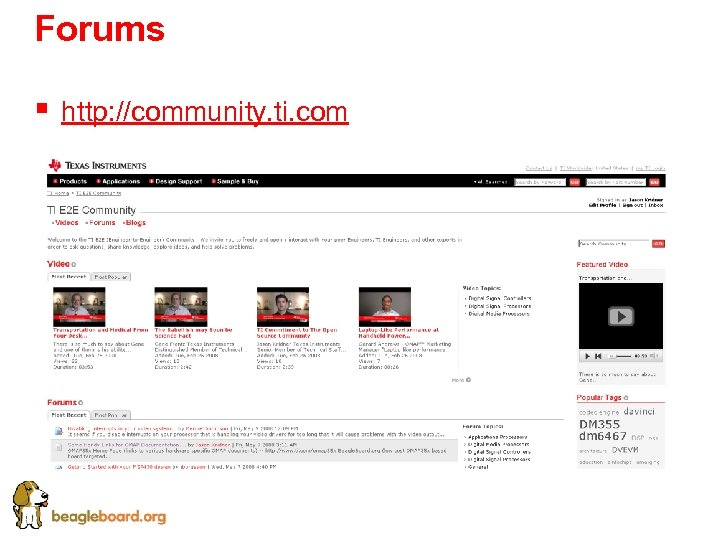 Forums § http: //community. ti. com