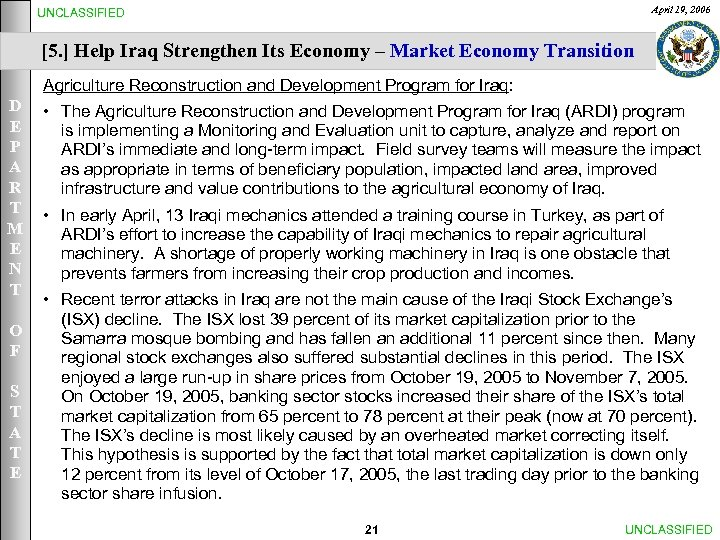 April 19, 2006 UNCLASSIFIED [5. ] Help Iraq Strengthen Its Economy – Market Economy