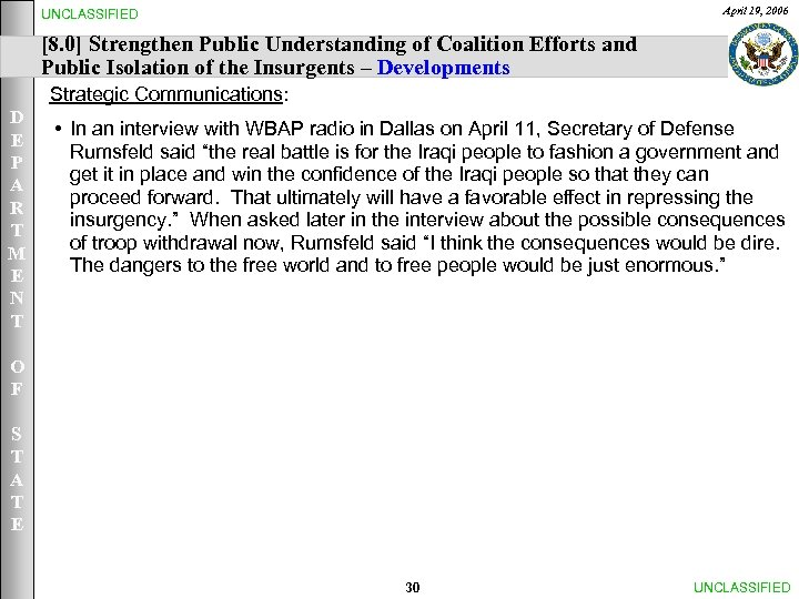 April 19, 2006 UNCLASSIFIED [8. 0] Strengthen Public Understanding of Coalition Efforts and Public