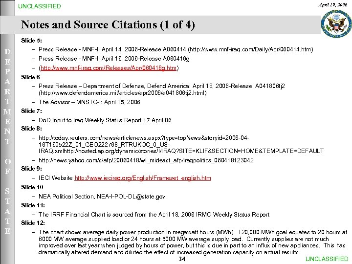 UNCLASSIFIED April 19, 2006 Notes and Source Citations (1 of 4) Slide 5: D
